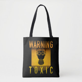 Toxic Warning Gas Mask Retro Atomic Age Grunge : Tote Bag