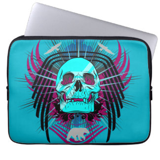 Toxic Winged Skull Graphic 13 Inch Laptop Sleeve