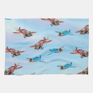 Toy Airplanes Pattern Tea Towel