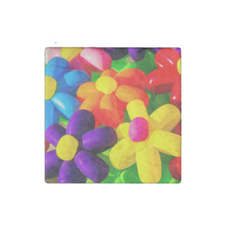 Toy Balloon Flowers Stone Magnet