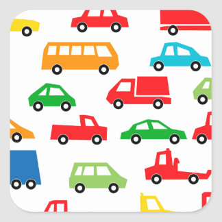 toy car pattern - automobile illustration square sticker