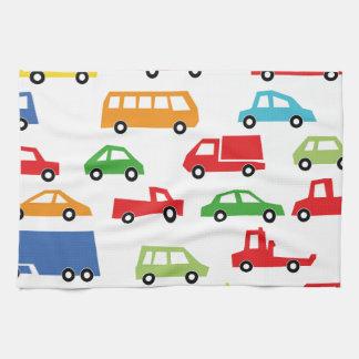 toy car pattern - automobile illustration tea towels