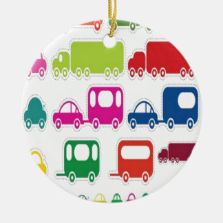 Toy cars and bus design ceramic ornament