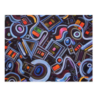 Toy Chest Playful Geometric Abstract Postcard