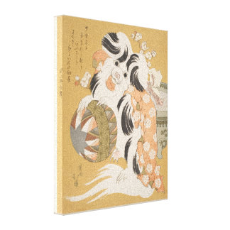 Toy Dog - Japanese Print Reproduction Gallery Wrap Canvas