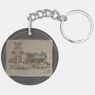 Toy Electric Train Double-Sided Round Acrylic Keychain