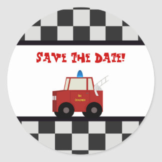 Toy Fire Truck Save The Date Stickers