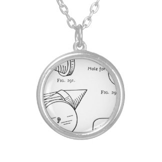 Toy Firework Schematic Silver Plated Necklace