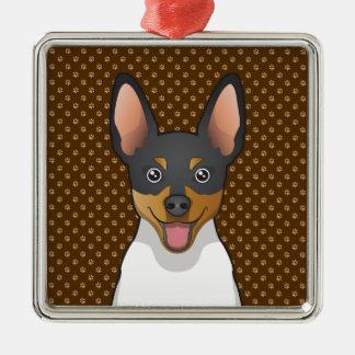 Toy Fox Terrier Cartoon Paws Metal Ornament