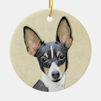 Toy Fox Terrier Painting - Cute Original Dog Art Ceramic Ornament