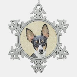 Toy Fox Terrier Painting - Cute Original Dog Art Snowflake Pewter Christmas Ornament
