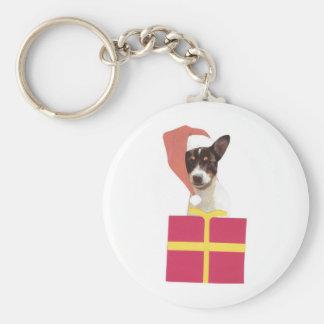 Toy Fox Terrier Santa Hat Keychains