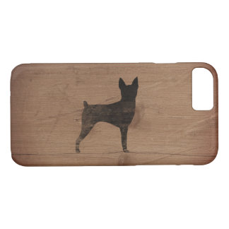 Toy Fox Terrier Silhouette Rustic iPhone 8/7 Case