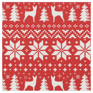 Toy Fox Terrier Silhouettes Christmas Pattern Red Fabric