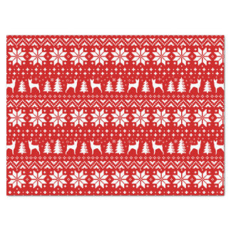 Toy Fox Terrier Silhouettes Christmas Pattern Red Tissue Paper