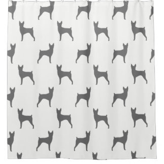 Toy Fox Terrier Silhouettes Pattern Shower Curtain