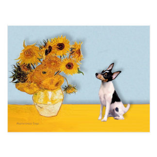 Toy Fox Terrier - Sunflowers Postcard