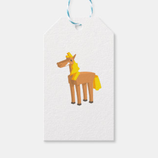 Toy Horse Drawing Isolated On White Background. Gift Tags