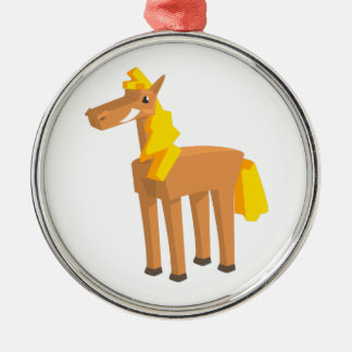 Toy Horse Drawing Isolated On White Background. Metal Ornament