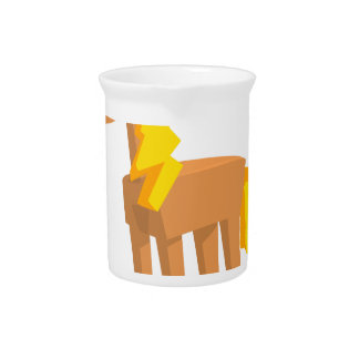 Toy Horse Drawing Isolated On White Background. Pitcher