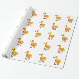 Toy Horse Drawing Isolated On White Background. Wrapping Paper