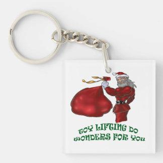 Toy Lifting Santa - Keychain Square Acrylic Key Chains