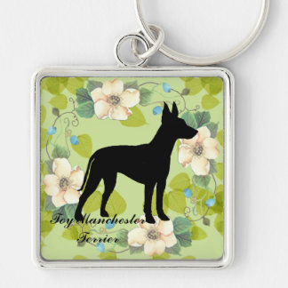 Toy Manchester Terrier ~ Green Leaves Design Silver-Colored Square Key Ring