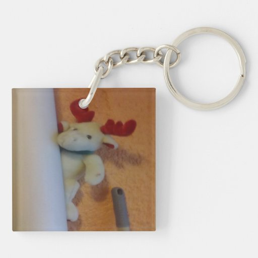 Toy moose square acrylic keychain