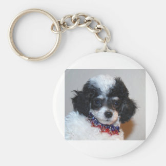 Toy Parti Poodle Puppy face Basic Round Button Key Ring
