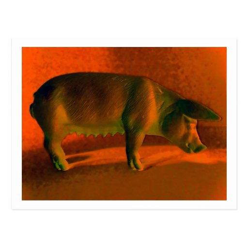 TOY PLASTIC PIG 2 POSTCARDS