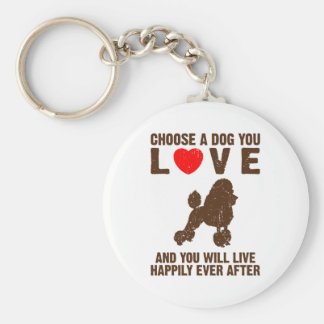 Toy Poodle Basic Round Button Key Ring