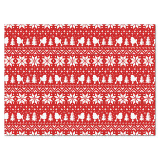 Toy Poodle Silhouettes Christmas Pattern Tissue Paper