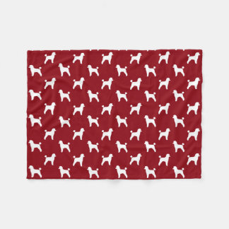 Toy Poodle Silhouettes Pattern Red Fleece Blanket