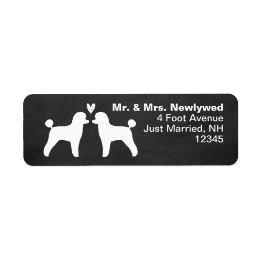 Toy Poodle Silhouettes with Heart Return Address Label
