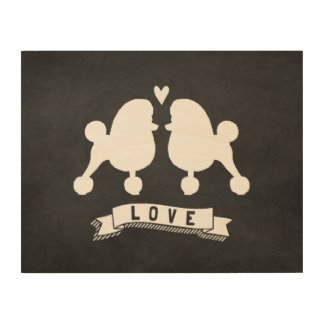 Toy Poodles Love - Dog Silhouettes w Heart Wood Canvases