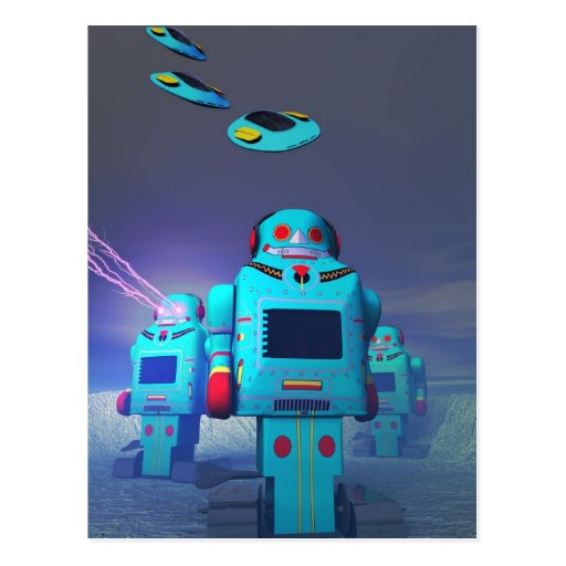 Toy Robos on the Attack Postcard