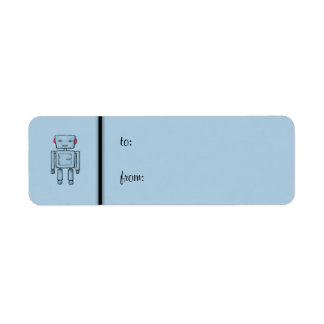 Toy Robot blue small Gift Tag Label Return Address Label