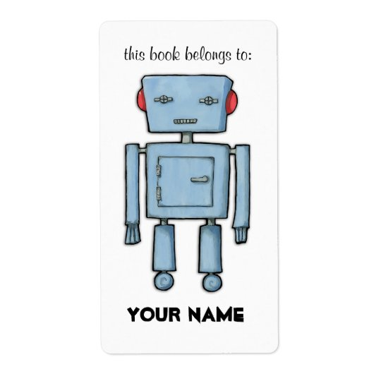 Toy Robot Bookplate Label Shipping Label