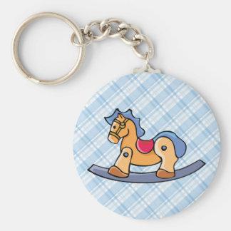 Toy Rocking Horse Basic Round Button Key Ring