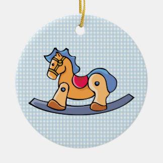 Toy Rocking Horse Round Ceramic Decoration