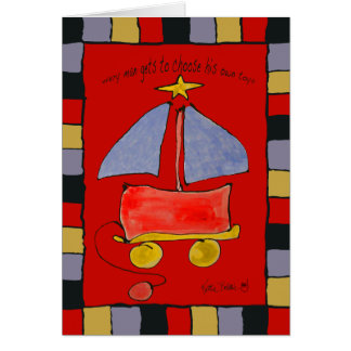 toy sailboat greeting card