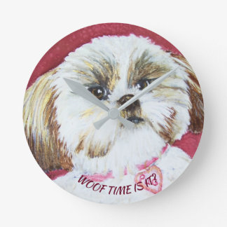 TOY SHIH TZU MIX ROUND CLOCK