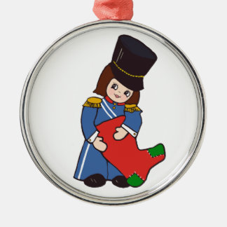 Toy Soldier Girl Silver-Colored Round Decoration