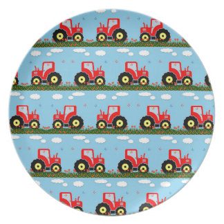 Toy tractor pattern dinner plates