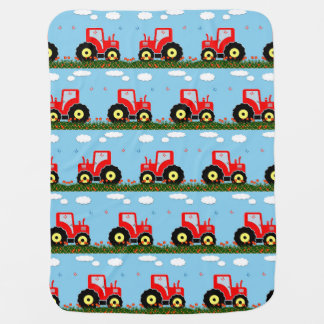 Toy tractor pattern receiving blankets