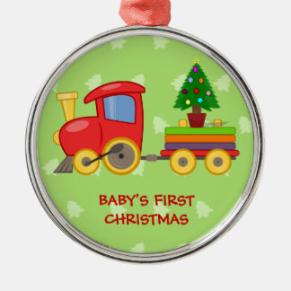 Toy Train, Baby's First Christmas Metal Ornament