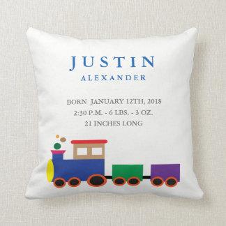 Toy Train Birth Announcement Pillow