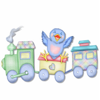 Toy Train Bluebird Standing Photo Sculpture
