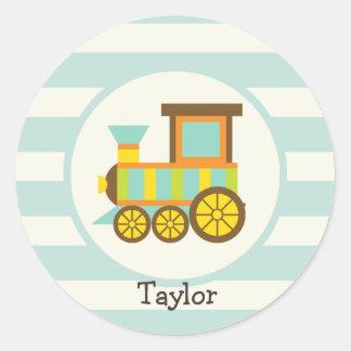 Toy Train; Brown, Orange, Yellow, Teal, Blue Round Stickers