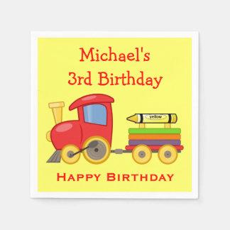 Toy Train Engine & Crayon Custom Year Boy Birthday Paper Napkins
